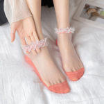 Japanese Female Cotton Socks Thin Section Kasi Lace Socks Stockings Short Paragraph Crystal Glass Socks Ankle Stockings - Khaki One Size