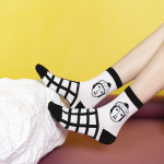 Autumn College Sylte Ins Personalized Hip-hop Cartoon Girls Tube Socks - Bars One Size