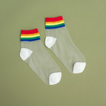 Summer Rainbow Silk Rainbow Ins Stockings Thin Models Cotton Socks Tide College Wind Light Breathable Socks Ankle Stockings - White One Size