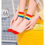 Summer Rainbow Silk Rainbow Ins Stockings Thin Models Cotton Socks Tide College Wind Light Breathable Socks Ankle Stockings - Yellow One Size