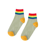 Summer Rainbow Silk Rainbow Ins Stockings Thin Models Cotton Socks Tide College Wind Light Breathable Socks Ankle Stockings - Red One Size
