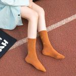 Japanese Female Autumn And Winter In Tube Socks Stockings Socks Cotton Socks Paragraph Letter Tide - Orange One Size