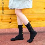 Japanese Female Autumn And Winter In Tube Socks Stockings Socks Cotton Socks Paragraph Letter Tide - Black One Size