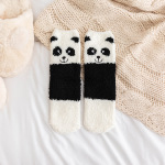 Japanese Autumn And Winter Soft Coral Velvet Adorable Animal Socks Thick Warm Socks Home Socks Crew Socks Fuzzy Socks Fluffy Socks - White Persian Cat One Size
