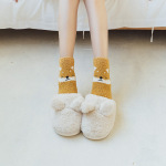 Japanese Autumn Winter Soft Coral Velvet Adorable Animal Socks Thick Warm Socks Home Socks Crew Socks Fluffy Fuzzy Socks - Black Panda One Size