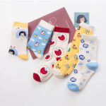 Cartoon Character Autumn And Winter Socks Japanese Small Fresh Strawberries And Sweet Little Angel In Tube Socks Cotton Socks - Blue Cow One Size