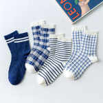 Japanese Geometric Grid Cute Lady In Tube Socks Cartoon Socks Female Blue Socks - Small Blue And White Plaid One Size