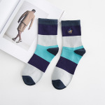 Polo Men's Fall And Winter Color Casual Men In Tube Socks Stockings Spell Color Leisure Sports Socks - Deep Blue