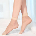 Female Ultra-thin Transparent Crystal 5D Stockings Summer Thin Section Invisible Socks Absorb Sweat Socks Ankle Stockings - Pale Complexion One Size
