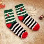 Autumn And Winter Coral Velvet Thick Warm Socks Christmas Socks Half Of Cashmere Embroidered Terry Home Floor Socks Sock - Bar Bell One Size