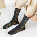 Autumn And Winter Linen Pattern Cotton Socks Retro Fashion Small Floral Jacquard In Tube Socks Personalized Socks - Black One Size