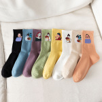Autumn Women's Socks Ms Painting Printed Socks Ins Girl Socks Candy Color Trend Heat Transfer In Tube Socks - Green One Size