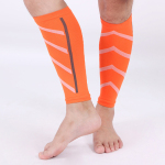 Footless Gym Nylon Sports Compression Stockings Breathable Professional Wrist Protection Compression Sleeve 15-25 mmHg - Orange wtih Stripes L / XL