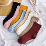 Female Winter Socks Lace Piles Of Socks Japanese Socks Breathable Socks - Powder One Size