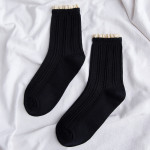 Female Winter Socks Lace Piles Of Socks Japanese Socks Breathable Socks - Black. One Size