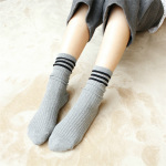 Ms. Three Bars Double Needle Cotton Socks Autumn And Winter Piles Of Socks Retro Sen Japanese Student, School Of Wind-in-tube Socks - Navy One Size
