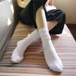 Fine Needle Bars 18 The Solid Piles Of Socks In Japanese Socks Cotton Tube Sock - Light Gray One Size