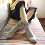 Fine Needle Bars 18 The Solid Piles Of Socks In Japanese Socks Cotton Tube Sock - Dark Gray One Size
