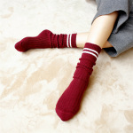 Two Bars Thick Line Of Retro College Wind Autumn And Winter Piles Of Socks In Tube Socks Cotton Socks Female - Black Cream Bars One Size