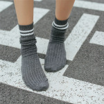 Two Bars Thick Line Of Retro College Wind Autumn And Winter Piles Of Socks In Tube Socks Cotton Socks Female - Coffee One Size