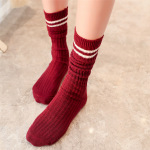 Two Bars Thick Line Of Retro College Wind Autumn And Winter Piles Of Socks In Tube Socks Cotton Socks Female - Navy One Size