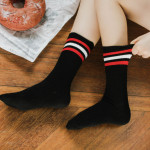 Autumn And Winter Piles Of Socks Thick Line Three Bars College Wind Cotton Tube Socks Female Socks - White Black Bars One Size