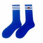 Thick Vertical Stripes Piles Of Socks Cute Bear Embroidery Cotton Socks Socks In Tube Socks - Navy One Size