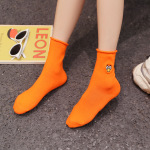 Funny Curling Piles Of Socks Cute Socks Embroidery Cotton Socks In Tube Socks - Dark Gray One Size