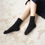 Autumn And Winter Solid Color Flat Double Needle Piles Of Socks Cotton Tube Socks Retro College Wind Socks - Light Gray One Size