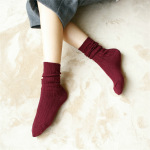 Thick Line Chevron Piles Of Socks Autumn And Winter Cotton Linen Pattern Retro College Of Forest In Tube Socks - Turmeric One Size