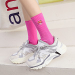 Thick Vertical Stripes Piles Of Socks Cute Leopard Embroidery Cotton Socks Socks In Tube Socks - Khaki One Size