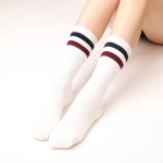 Autumn And Winter Needle Two Bars Piles Of Socks Retro Sen Department Of College Wind Cotton Women In Tube Socks - Dark Gray One Size