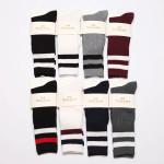 Autumn And Winter Needle Two Bars Piles Of Socks Retro Sen Department Of College Wind Cotton Women In Tube Socks - White Red And Blue Bars One Size