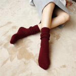 Rabbit Wool Socks Autumn And Winter Piles Of Fine Bars Mori Department Of College Wind Female Thick Warm Socks In Tube - Dark Gray One Size