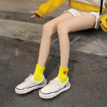 Wide-mouth Rabbit Embroidery Piles Of Socks Cotton Socks Socks In Tube Socks - Yellow One Size