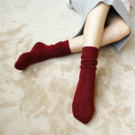 Multicolored Yarn Loop Yarns Cashmere Autumn And Winter Piles Of Socks Female Socks In Tube Socks - Dark Red Color Mix One Size