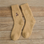 Winter Slouch Wool Socks Thick Terry Warm Winter Korean Embroidered Winnie Stockings Children Wholesale Fluffy Fuzzy Socks - Khaki One Size