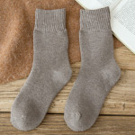 Series Of Warm Winter Socks Solid Color Cotton Socks Thick Wholesale Fluffy Fuzzy Socks - Burgundy One Size