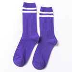 Two Bars Socks Tube Socks Girls College Wind Piles Of Socks Female Japanese Wind Retro Cotton Stockings Student Socks - Light Grey Have Tags