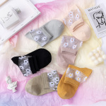 Crystal Glass Fiber Spring Summer Cotton Socks Ins Japanese Chrysanthemum Korean Slim Socks Ankle Stockings - Pink One Size