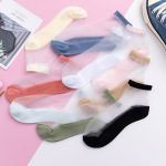 Pure Pigment Socks Female Socks Shallow Mouth Ins Tide Stockings Female Summer Invisible Glass Crystal Thin Section Socks Ankle Stockings - Black One Size