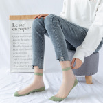 Pure Pigment Socks Female Socks Shallow Mouth Ins Tide Stockings Female Summer Invisible Glass Crystal Thin Section Socks Ankle Stockings - Light Blue One Size