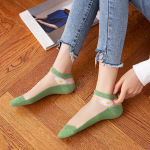 Socks Stockings Female Summer Thin Section Korean Small Daisy Glass Crystal Stockings Shallow Mouth Cute Transparent Kasi Socks Ankle Stockings - Light Blue One Size
