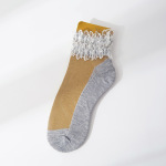 Large Pearl Lace Socks Fairy Lace Transparent Crystal Ultra-thin Silk Socks Thin Cotton Bottom Section Small Leather Shoes Boat Socks Ankle Stockings - Orange Pearl Powder One Size