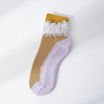 Large Pearl Lace Socks Fairy Lace Transparent Crystal Ultra-thin Silk Socks Thin Cotton Bottom Section Small Leather Shoes Boat Socks Ankle Stockings - Gray Lace One Size