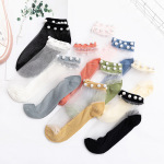 Large Pearl Lace Socks Fairy Lace Transparent Crystal Ultra-thin Silk Socks Thin Cotton Bottom Section Small Leather Shoes Boat Socks Ankle Stockings - Lace Color One Size