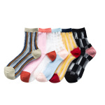 Kasi Checkered Socks Spring Summer Fashion Korean  Retro Plaid Personality Socks Ankle Stockings - Black One Size