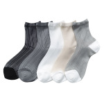 Spring Summer Thin Section Bars Jacquard Silk Stockings Child Silk Japanese Korean Ins Tide Personality Socks Ankle Stockings - Dark Gray One Size