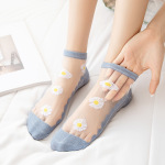 Daisy Socks Female Socks Shallow Mouth Thin Japanese Crystal Glass Silk Socks Stockings Short Paragraph Cotton Socks Bottom Boat Ankle Stockings - Pink One Size
