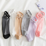 Pearl Socks Female Socks Summer Thin Japanese Shallow Mouth Transparent Crystal Glass Silk Socks Tide Cute Ins Ankle Stockings - Purple One Size
